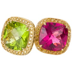 Nardi Rubellite Tourmaline, Peridot and Yellow Diamond Cocktail Rings