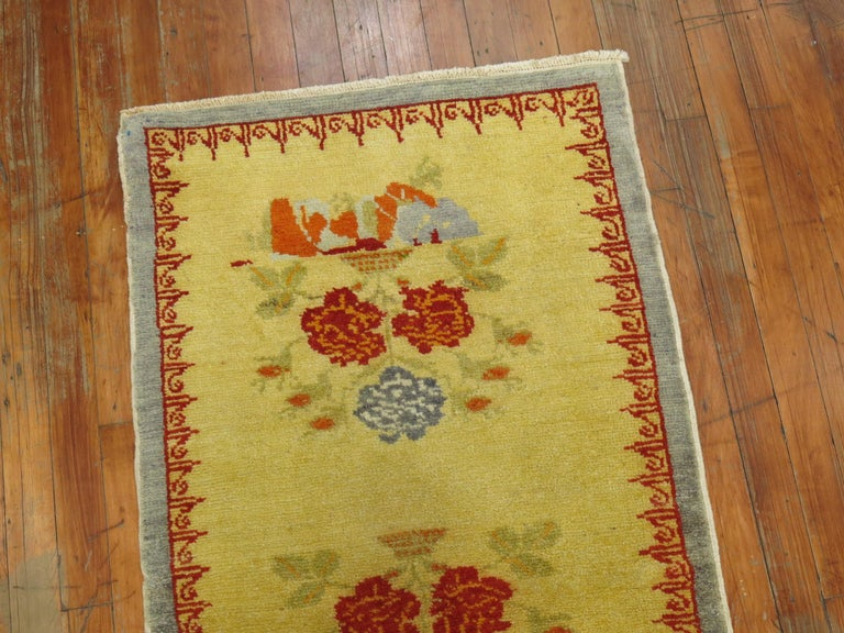 Romantic Narrow Anatolian Turkish Flower Runner in Bright Yellow For Sale