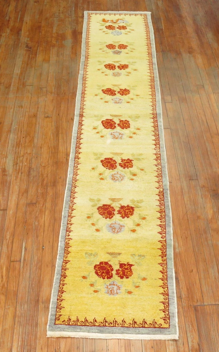 Hand-Knotted Narrow Anatolian Turkish Flower Runner in Bright Yellow For Sale