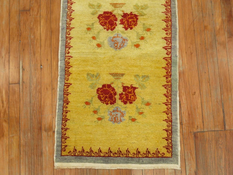 20th Century Narrow Anatolian Turkish Flower Runner in Bright Yellow For Sale