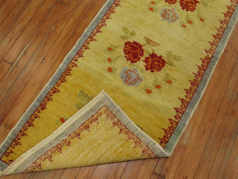 Wool Narrow Anatolian Turkish Flower Runner in Bright Yellow For Sale