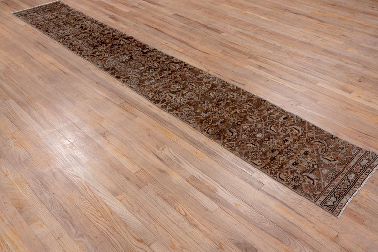 Hand-Knotted Narrow Antique Hamadan Runner For Sale