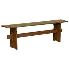 Narrow Antique Painted Pine Bench