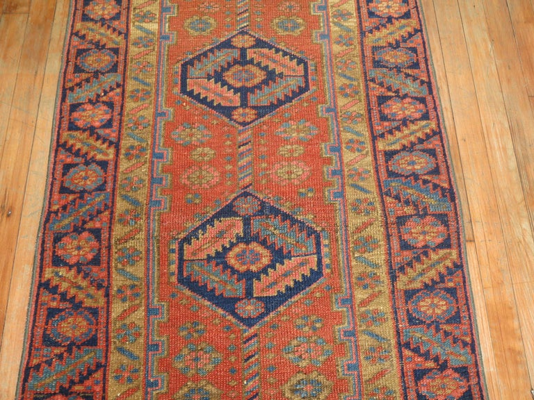 Tudor Narrow Antique Persian Heriz Runner For Sale