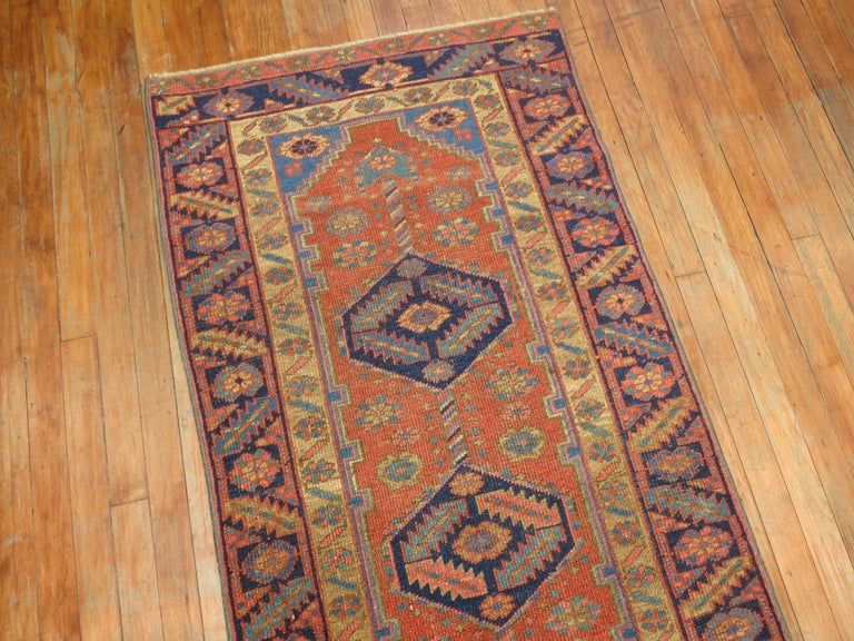 Hand-Knotted Narrow Antique Persian Heriz Runner For Sale