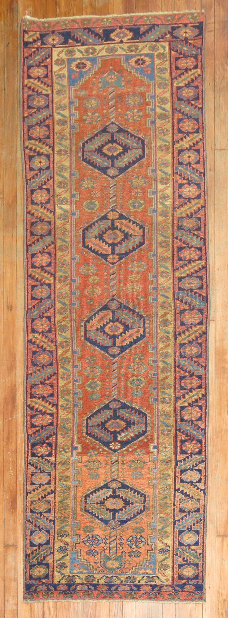 Narrow Antique Persian Heriz Runner In Excellent Condition For Sale In New York, NY