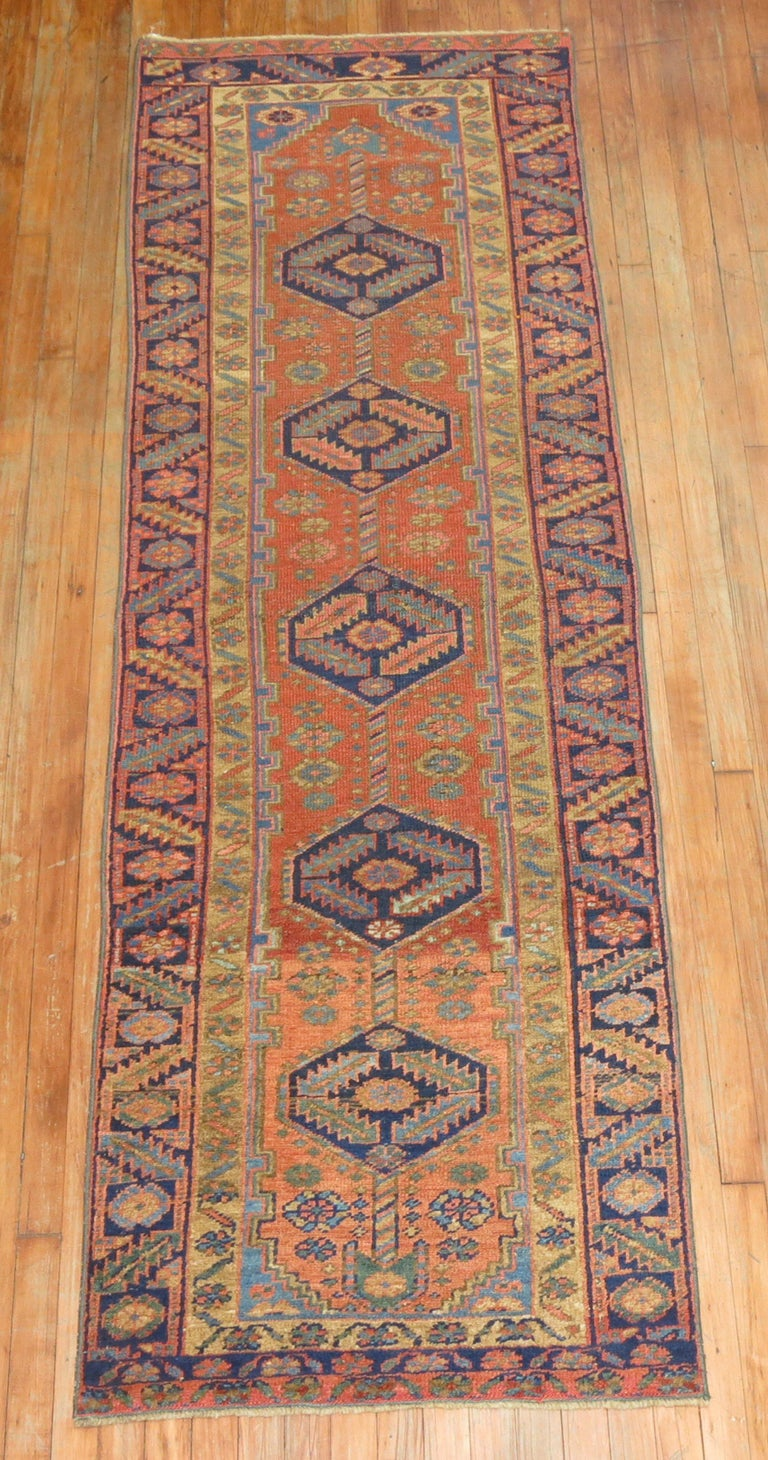 Narrow Antique Persian Heriz Runner For Sale 2