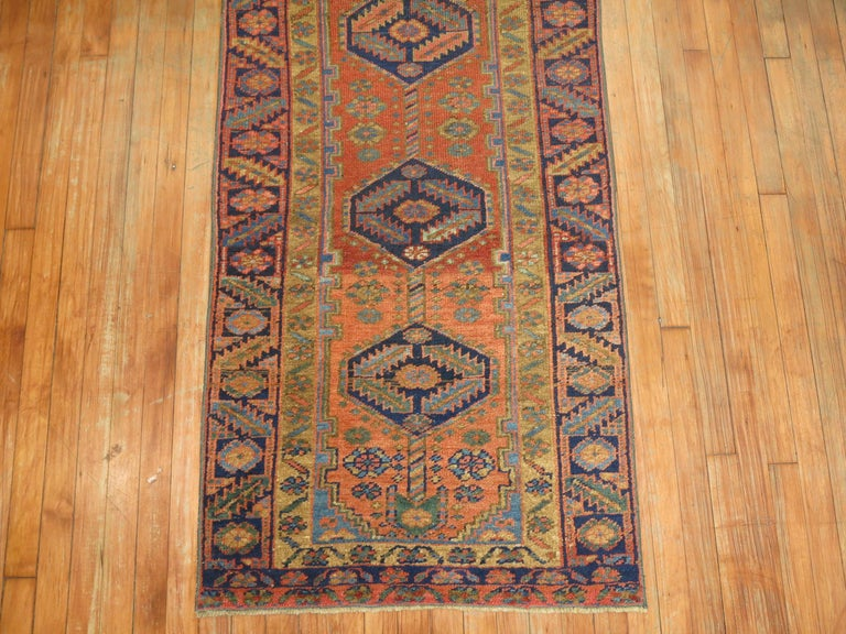 Wool Narrow Antique Persian Heriz Runner For Sale