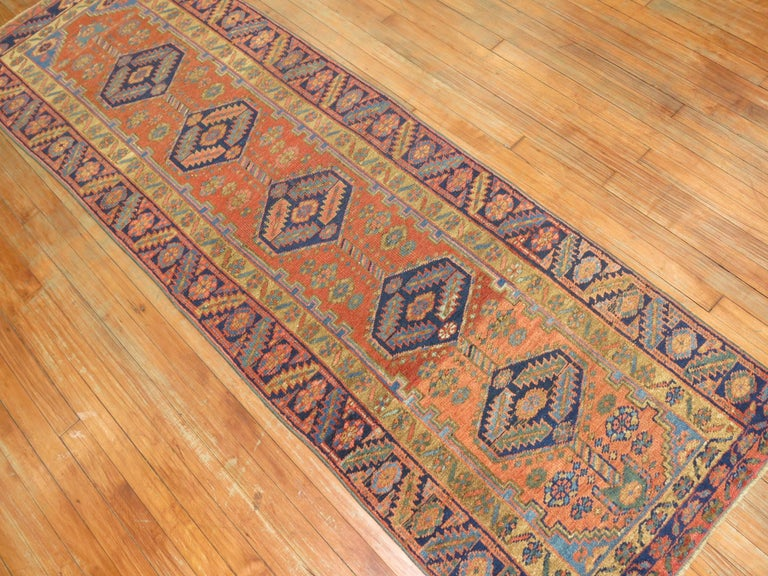 Narrow Antique Persian Heriz Runner For Sale 1