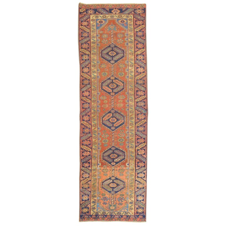 Narrow Antique Persian Heriz Runner For Sale