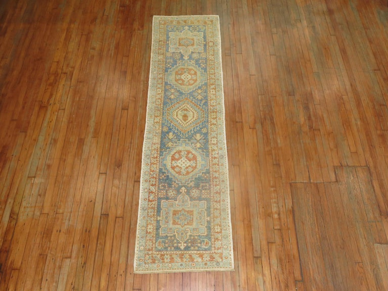 One of a kind antique Persian Heriz runner in blue and orange accents.
