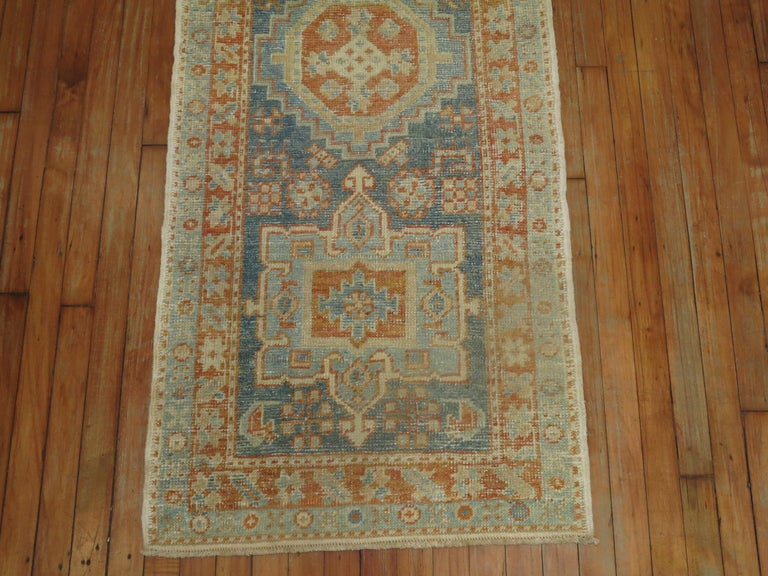 Rustic Narrow Antique Persian Heriz Runner in Blues and Orange For Sale