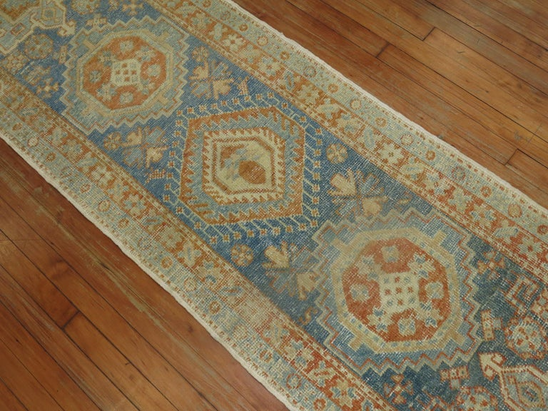 Hand-Knotted Narrow Antique Persian Heriz Runner in Blues and Orange For Sale