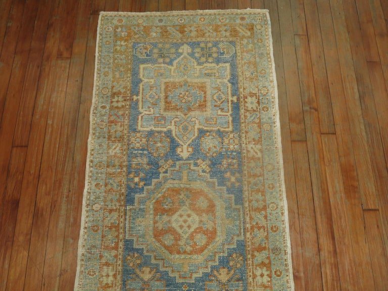 Narrow Antique Persian Heriz Runner in Blues and Orange In Good Condition For Sale In New York, NY