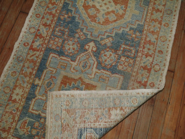 20th Century Narrow Antique Persian Heriz Runner in Blues and Orange For Sale