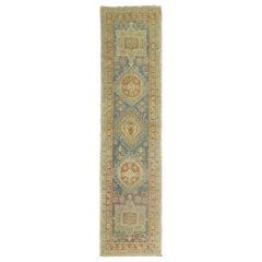 Narrow Antique Persian Heriz Runner in Blues and Orange