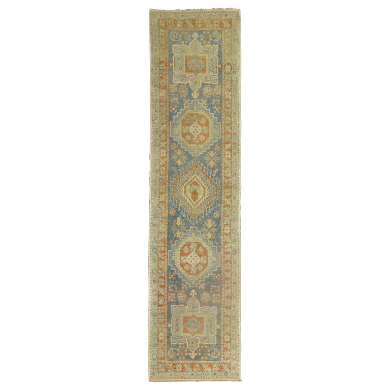 Narrow Antique Persian Heriz Runner in Blues and Orange For Sale