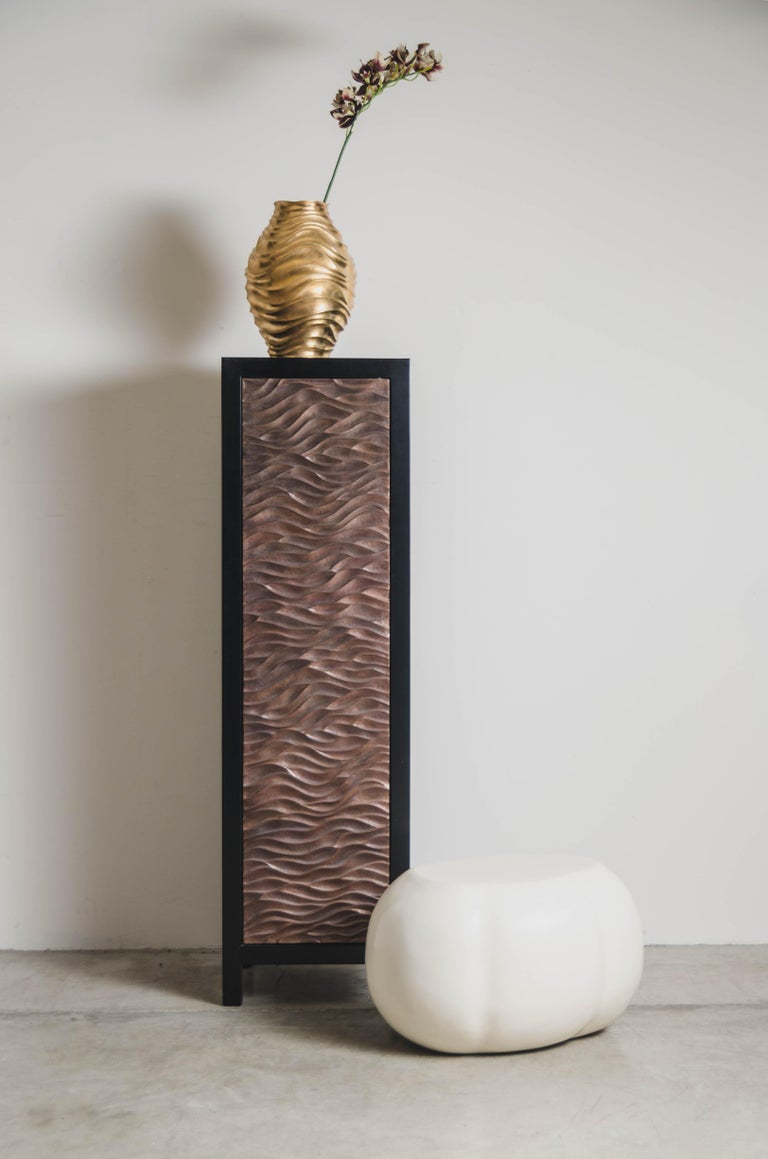Repoussé Narrow Cabinet with Gobi Design Single Door by Robert Kuo, Limited Edition