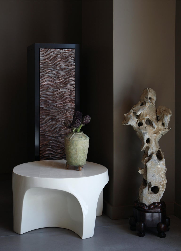 Contemporary Narrow Cabinet with Gobi Design Single Door by Robert Kuo, Limited Edition