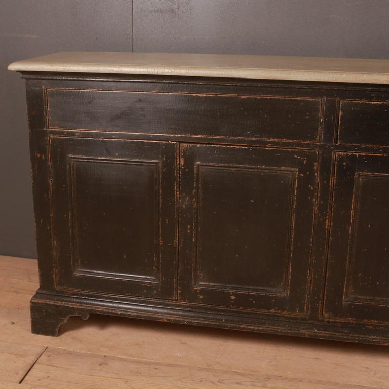 Narrow 19th century painted dresser base. Awaiting hardware, 1840.
