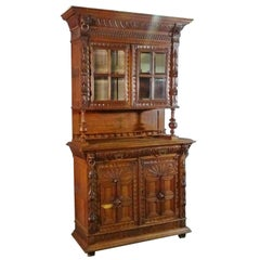 Narrow French Brittany Lion Carved Oak Court Cupboard China Cabinet Vitrine