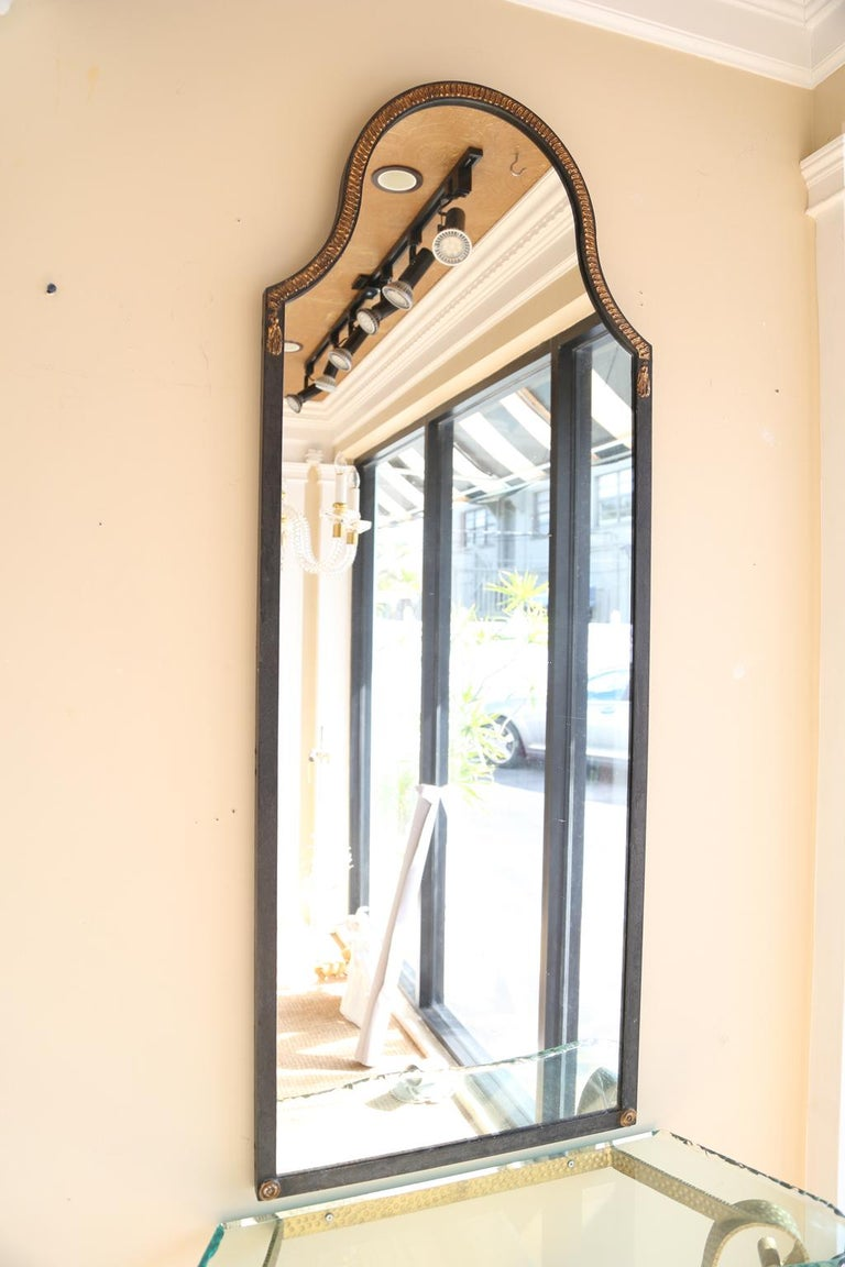 Narrow Iron Mirror with Gilt Rope Detail In Excellent Condition For Sale In West Palm Beach, FL