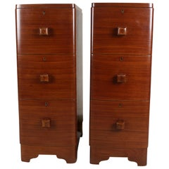 Narrow Mid-Century Modern Teak Wood Side Tables