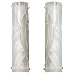 Narrow Pair of Translucent White Textured Murano Glass and Brass Sconces, Italy