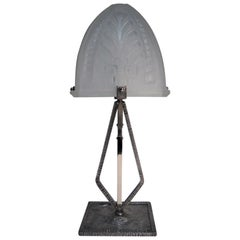 Narrow, Rectangular French Modernist Table Lamp, Hammered Iron and Art Glass