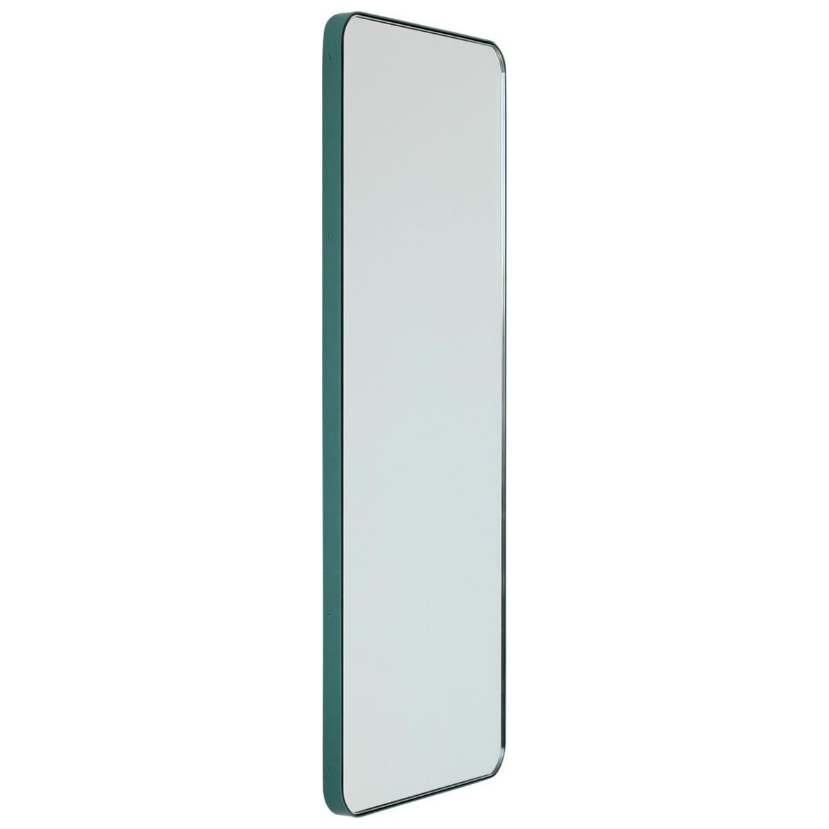 Quadris™ Rectangular Narrow Mirror with a Mint Turquoise Frame