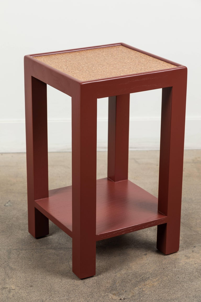 Mid century modern narrow side table square short by lawson fenning for sale