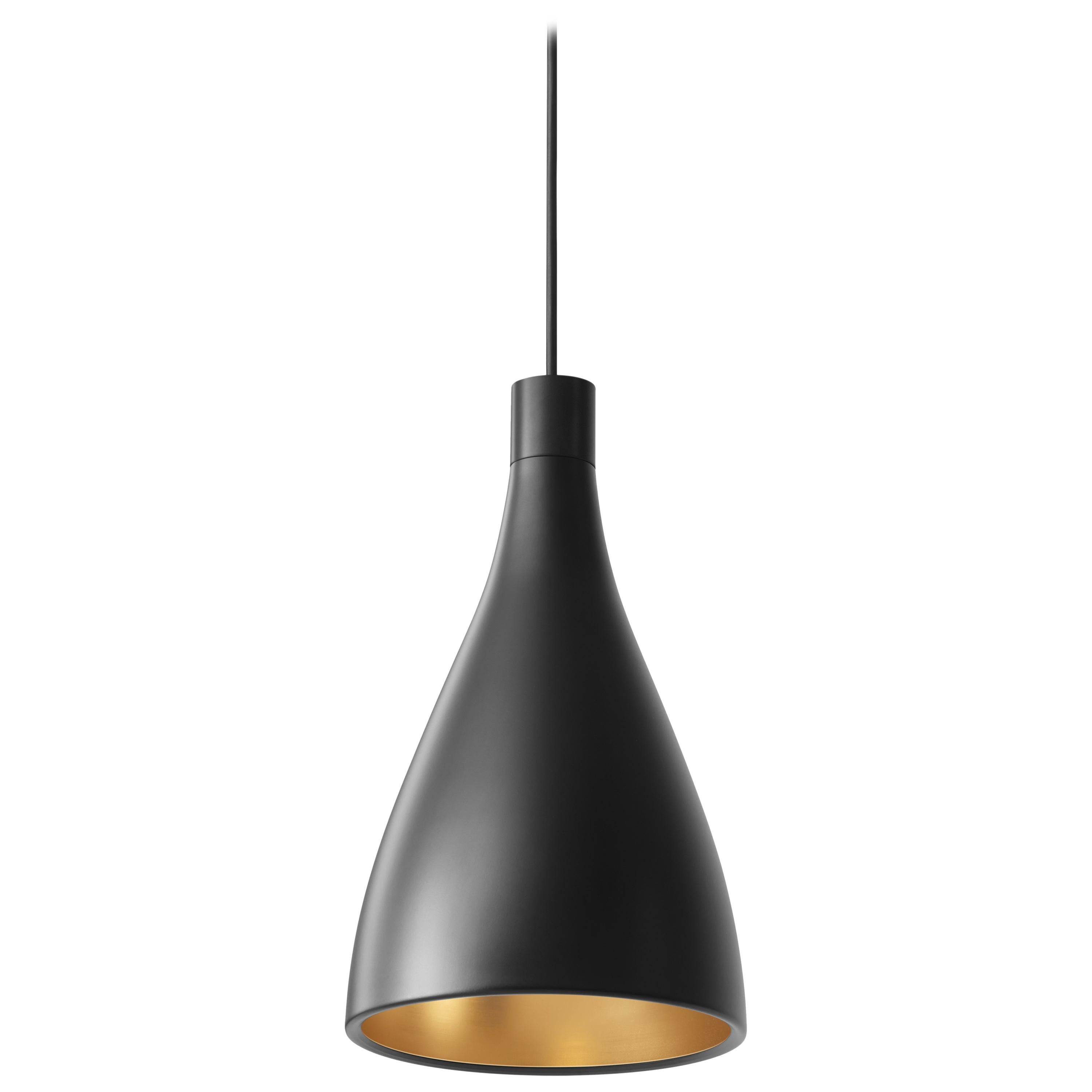 Narrow Swell Pendant Light in Black & Brass by Pablo Designs