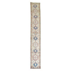 Narrow Vintage Persian Heriz Runner Ivory Rust Pink Blue Tones