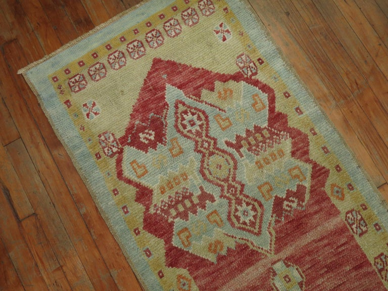 Hand-Knotted Narrow Vintage Turkish Oushak Runner For Sale
