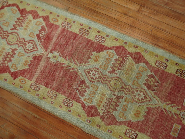 Narrow Vintage Turkish Oushak Runner In Good Condition For Sale In New York, NY