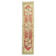 Narrow Vintage Turkish Oushak Runner
