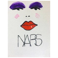 Nars, One of a Kind Watercolor Painting of a Makeup Brand, Unframed