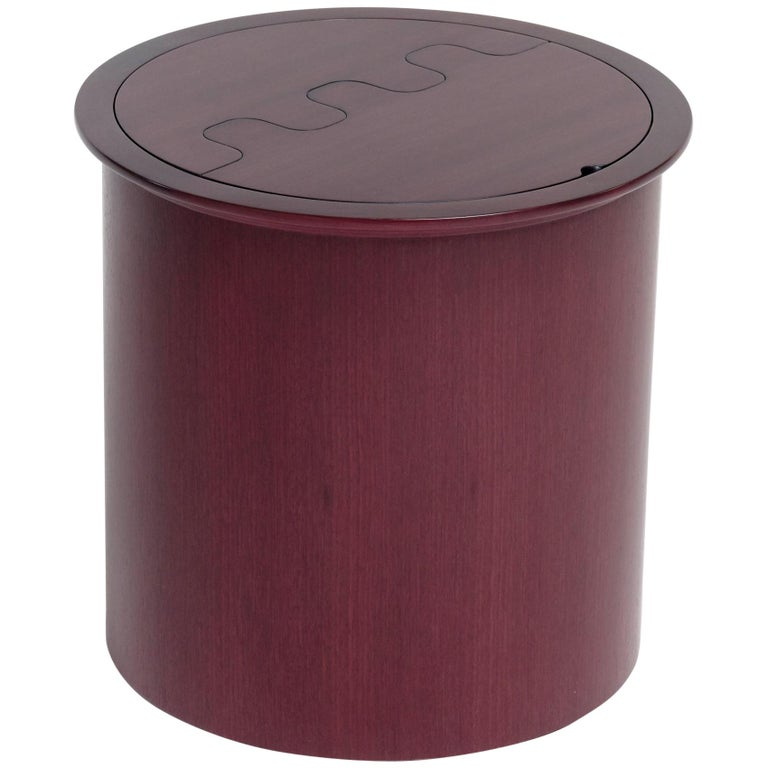 For Sale: Brown (Amaranth) Nascondino Small Wooden Container with Leather Interior by Bottega Ghianda
