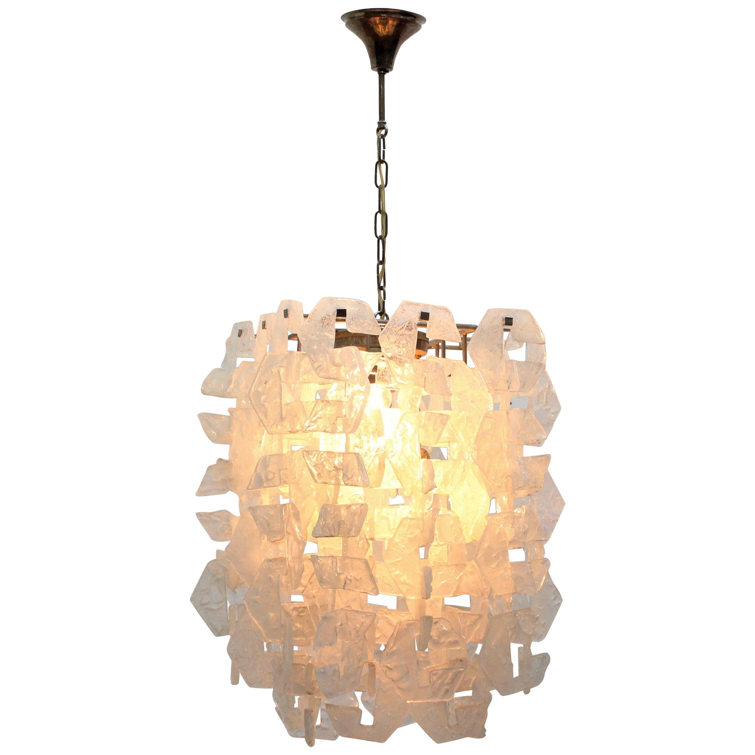Murano Crystal and Opaline Glass Chandelier by Mazzega