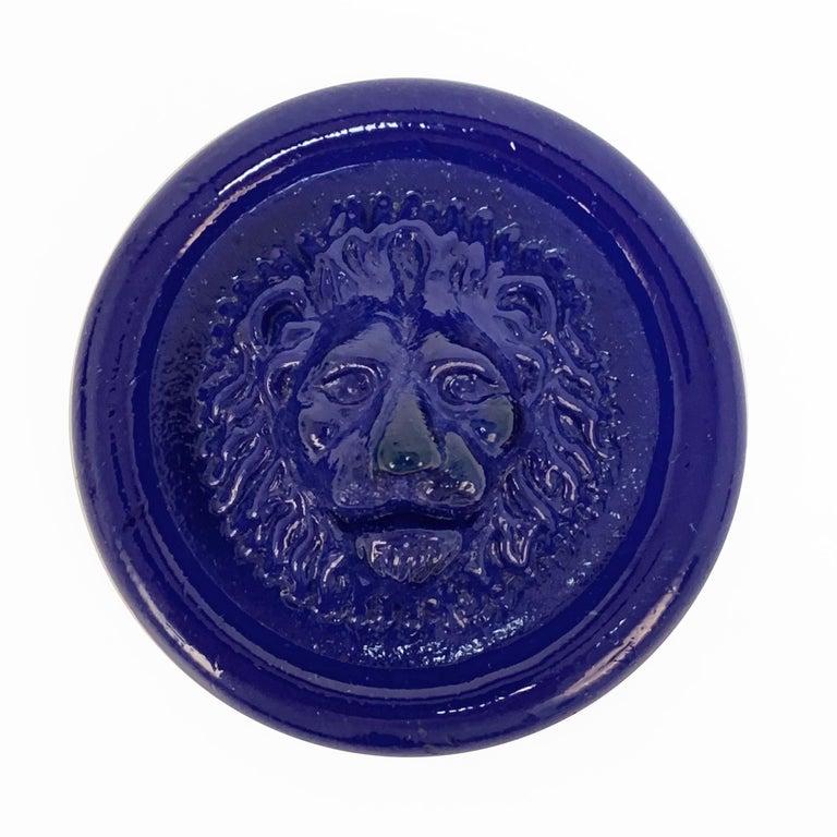Nason, Italian Murano Glass Leo Lion Paperweight Blue, Venezia Murano Italy In Good Condition For Sale In Roma, IT