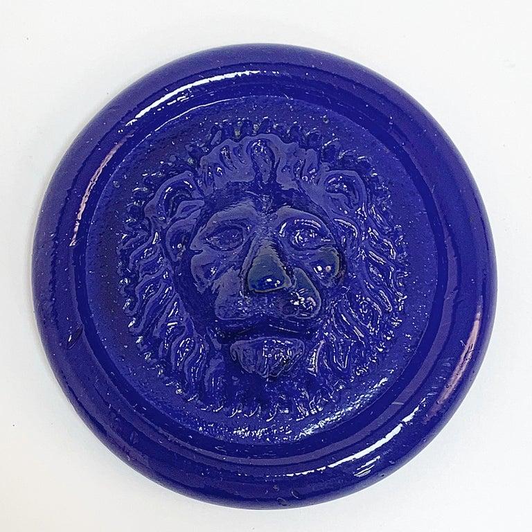 Nason, Italian Murano Glass Leo Lion Paperweight Blue, Venezia Murano Italy For Sale 1