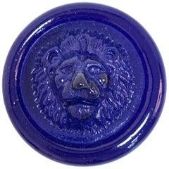 Nason, Italian Murano Glass Leo Lion Paperweight Blue, Venezia Murano Italy