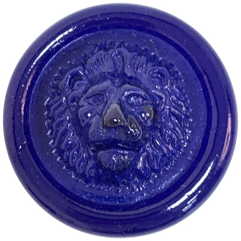 Nason, Italian Murano Glass Leo Lion Paperweight Blue, Venezia Murano Italy For Sale