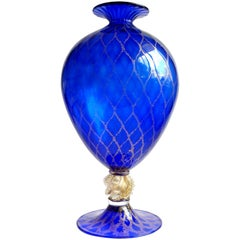 Nason Murano Sapphire Blue Gold Flecks Diamond Design Italian Art Glass Vase