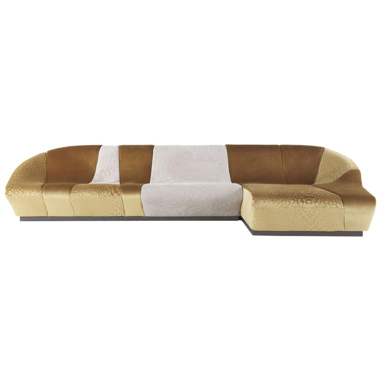 Nassau Modular Sofa in Gold Fabric and Leather by Roberto Cavalli Home Interiors For Sale