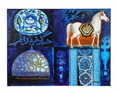 "Nasser Ovissi, 'Iranian, Born 1934' ""Four Blue Squares"" Oil on Canvas Painting"
