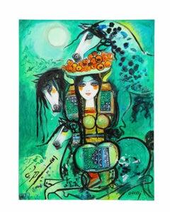 "Nasser Ovissi, 'Iranian, Born 1934' ""Girl with Arabian Horses"" Oil on Canvas"