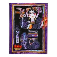 "Nasser Ovissi, 'Iranian, Born 1934' ""Pomegranate Girl"" Oil on Canvas Painting"
