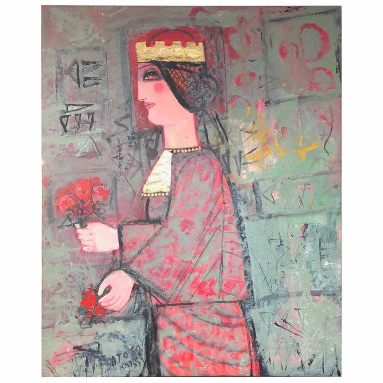 "Nasser Ovissi, 'Iranian, Born 1934' ""Queen Atosa"" Gold Oil on Canvas Painting - Gray Figurative Painting by Nasser Ovissi"