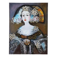 "Nasser Ovissi, 'Iranian, Born 1934' ""Queen Isabella I of Spain"" Oil on Canvas"